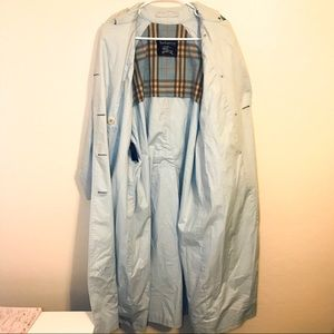 Vintage Burberry Rain Trench Coat Light Blue 6
